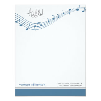 Music Notes Custom Flat Note Cards (blue)