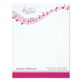 Music Notes Custom Flat Note Cards (fuchsia)