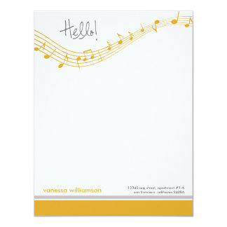 Music Notes Custom Flat Note Cards (gold)