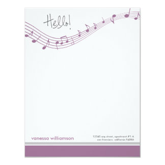 Music Notes Custom Flat Note Cards (lavender)
