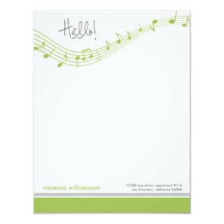 Music Notes Custom Flat Note Cards (lime)