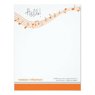 Music Notes Custom Flat Note Cards (orange)