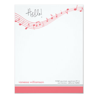 Music Notes Custom Flat Note Cards (pink)
