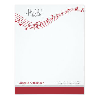 Music Notes Custom Flat Note Cards (red)