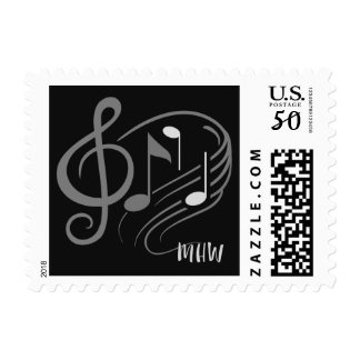 Music Notes Custom Monogram postage stamps