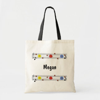 Music Notes Custom Name Tote Bag
