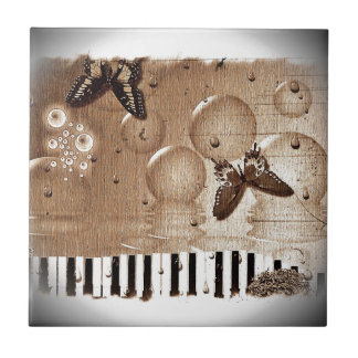 Music Notes Destiny Colorful Butterfly Nature Ceramic Tile