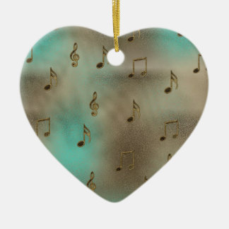Music & Notes Double-Sided Heart Ceramic Christmas Ornament