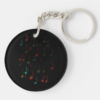 music notes drawn on dark background Double-Sided round acrylic keychain