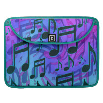 Music Notes Dreamy Swirly Musical Pattern Sleeve For MacBooks
