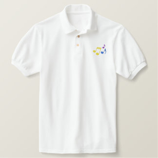 Music Notes Embroidered Polo Shirt