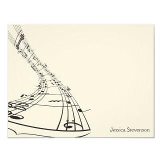 Music Notes Flat Note Card (black) Custom Invitations
