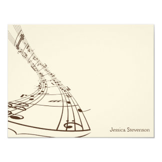 Music Notes Flat Note Card (chocolate)