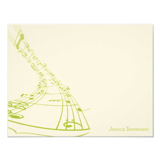 Music Notes Flat Note Card (green) Personalized Announcement