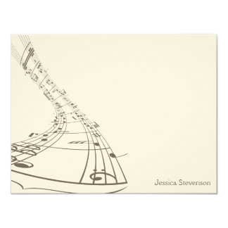 Music Notes Flat Note Card (grey)