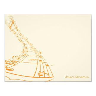 Music Notes Flat Note Card (orange)