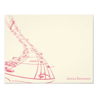 Music Notes Flat Note Card (pink)