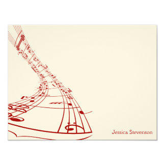Music Notes Flat Note Card (red) Announcements