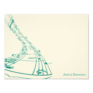 Music Notes Flat Note Card (teal) Personalized Invitations