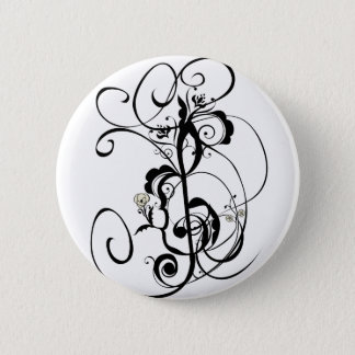 Music Notes Floral Ornament 2 Pinback Button
