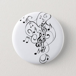 Music Notes Floral Ornament 3 Pinback Button