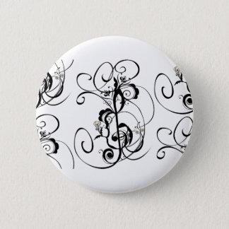 Music Notes Floral Ornament Button