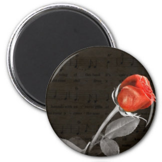 music notes flourish  valentines day red rose magnet