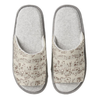 Music notes pair of open toe slippers
