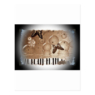 Music Notes Happy & Colorful Butterfly Nature Postcard