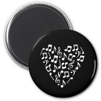 Music Notes Heart Magnet (White)