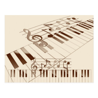 Music notes illustration postcard