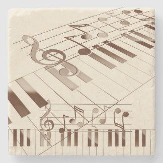Music notes illustration stone coaster