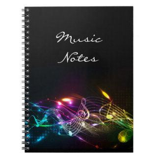 Music Notes in Color for Music-lovers Spiral Note Book