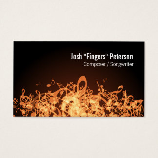 Music Notes Jumble Orange Business Card