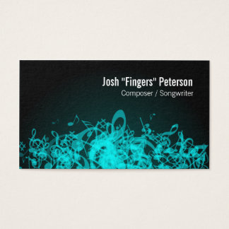 Music Notes Jumble Turquoise Business Card