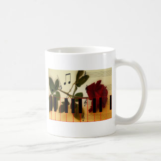 Music Notes Keyboard Red Rose Blossom Destiny Coffee Mug