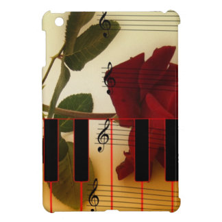 Music Notes Keyboard Red Rose Blossom Destiny Cover For The iPad Mini