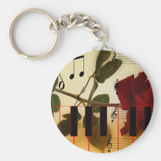 Music Notes Keyboard Red Rose Blossom Destiny Key Chains