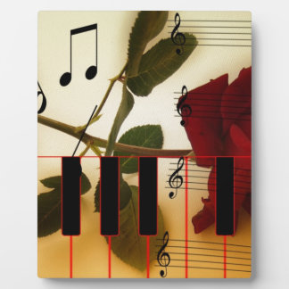 Music Notes Keyboard Red Rose Blossom Destiny Photo Plaques