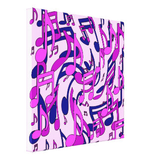 Music Notes Lively Pattern Blue Pink Purple Canvas Print