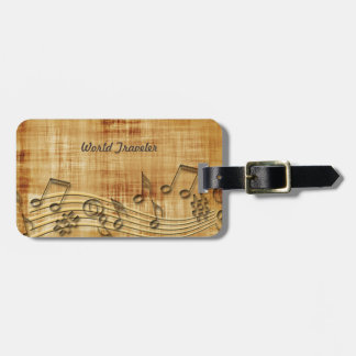 Music Notes Luggage Tag with Leather Strap