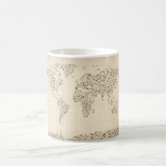 Music Notes Map of the World Coffee Mug