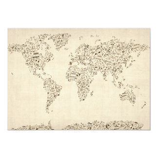 Music Notes Map of the World 5x7 Paper Invitation Card