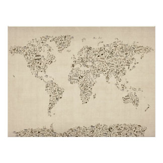 Music Notes Map of the World Poster