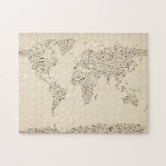 Music Notes Map of the World Puzzle