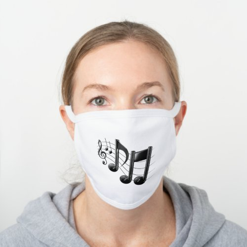 Music Notes Music Themed Gifts White Cotton Face Mask