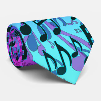 Music Notes Musical Pattern Aqua Blue Green Purple Neck Tie