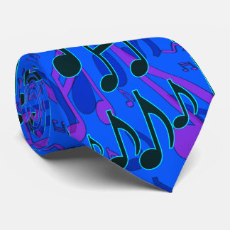 Music Notes Musical Pattern Blue Cool Colors Neck Tie