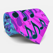 Music Notes Musical Pattern Blue Green Pink Aqua Neck Tie