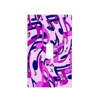 Music Notes Musical Pattern Pink Expressive Art Light Switch Cover
